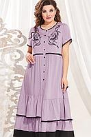 Женское летнее из вискозы розовое большого размера платье Vittoria Queen 13623/1 розовый 52р.