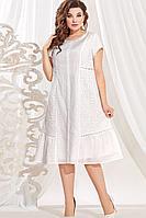 Женское летнее хлопковое белое большого размера платье Vittoria Queen 13713 белый 48р.