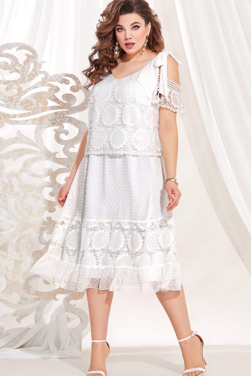 Женское летнее белое большого размера платье Vittoria Queen 13723 белый 48р. - фото 1