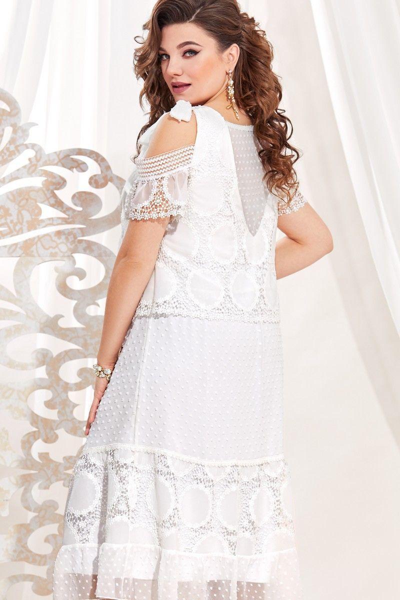 Женское летнее белое большого размера платье Vittoria Queen 13723 белый 48р. - фото 3