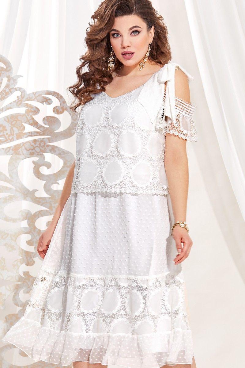 Женское летнее белое большого размера платье Vittoria Queen 13723 белый 48р. - фото 4