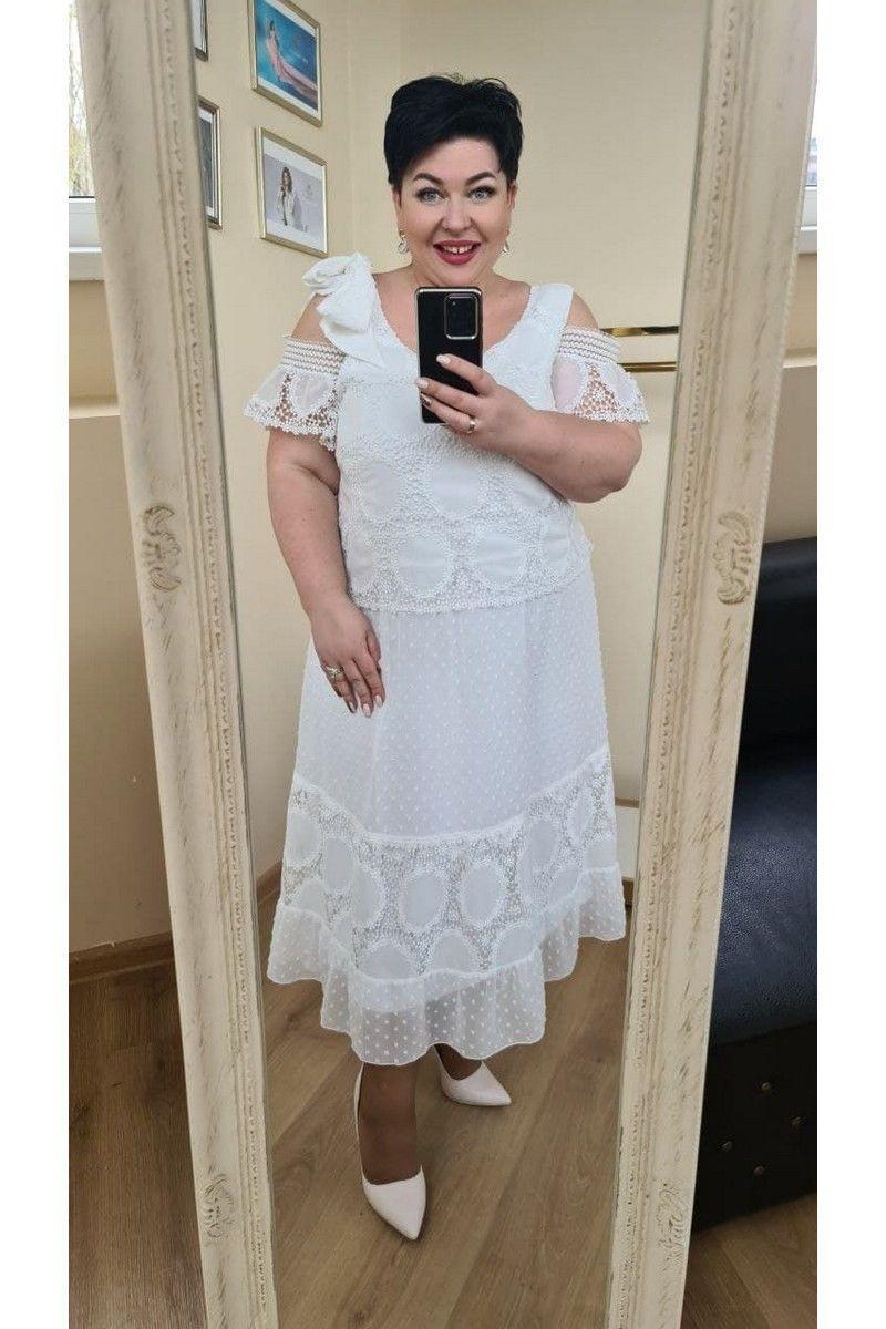 Женское летнее белое большого размера платье Vittoria Queen 13723 белый 48р. - фото 5