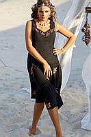 Женское летнее из вискозы черное нарядное большого размера платье Vittoria Queen 14033 черный 50р.