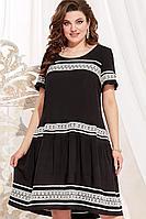 Женское летнее из вискозы черное нарядное большого размера платье Vittoria Queen 13993 черный-молоко 48р.