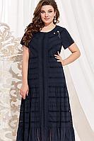 Женское летнее хлопковое синее нарядное большого размера платье Vittoria Queen 14083/1 темно-синий 52р.