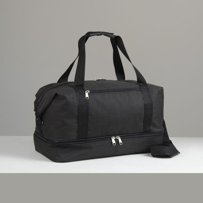 Сумка спортивная, отдел на молнии, 2 наружных кармана, длинный ремень, цвет чёрный