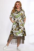 Женский летний большого размера комплект с платьем Angelina & Сompany 555 зелень-черный 60р.