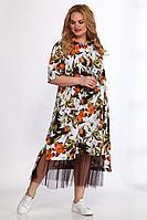 Женский летний большого размера комплект с платьем Angelina & Сompany 555 оранж-черный 56р.