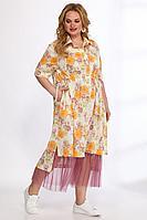 Женский летний большого размера комплект с платьем Angelina & Сompany 555 желтый-розовый 60р.