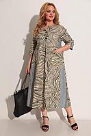 Женское летнее из вискозы бежевое большого размера платье Michel chic 2013 беж-серый-зеленый 64р.