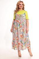 Женский летний из вискозы большого размера комплект с платьем Michel chic 1236 салат+цветы 50р.