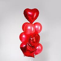 Букет из шаров «Пламенный», фольга, латекс, набор 10 шт., цвет красный