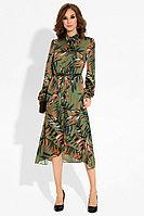 Женское осеннее зеленое нарядное платье Панда 19880z мультиколор 42р.
