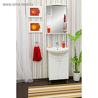 Шкаф-зеркало Лина 55 белый глянец, левый 26,5 см х 55 см х 73 см