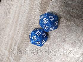 Кубик D20  с логотипом сетов MTG : цвет голубой