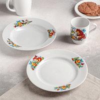 Набор посуды 'Веселый Колобок', 3 предмета, тарелка d20 см, миска d20 см, кружка 210 мл (комплект из 4 шт.)