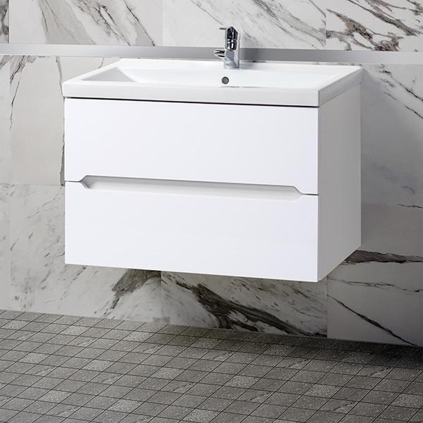 Тумба для ванной «Акваль Верна» 80 см. Умывальник в комплекте: «Тобаго 80 встраиваемый»