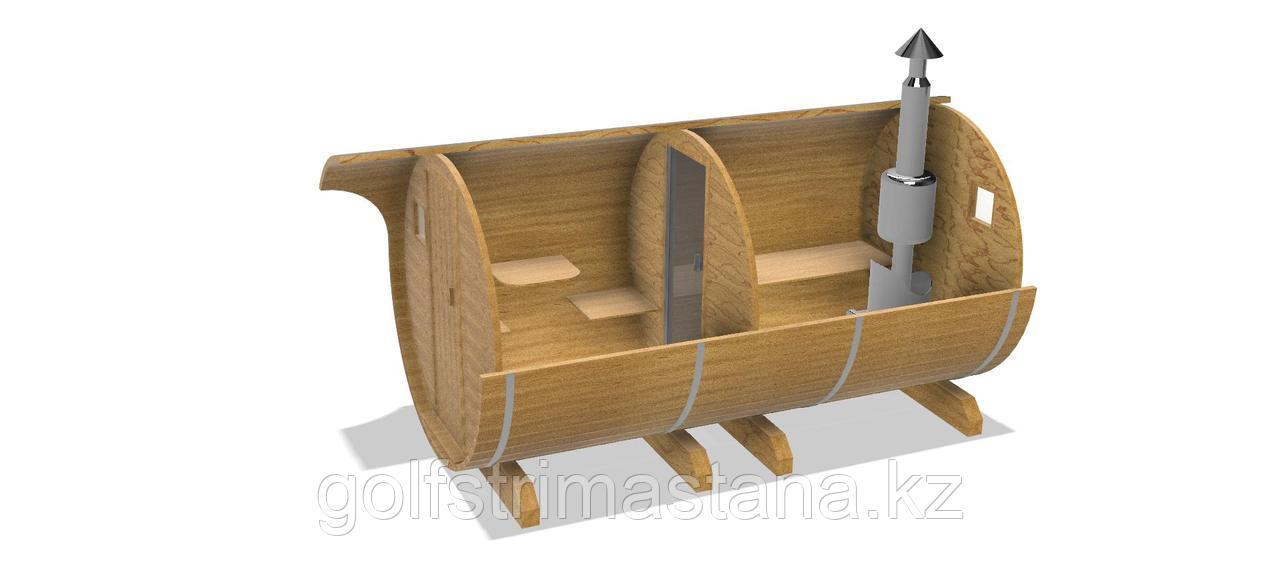 Баня-бочка из кедра д*ш: 4,5*2,1 м. / круглая
