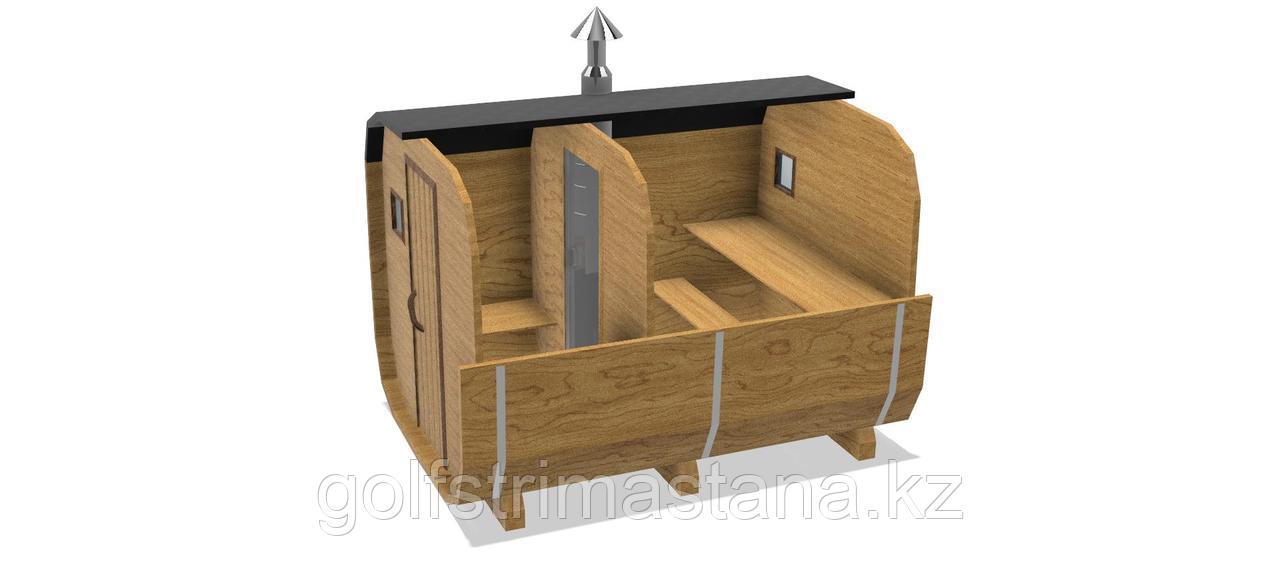 Баня-бочка из кедра д*ш: 3,5*2,1 м. / Квадратная