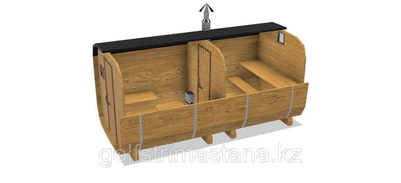 Баня-бочка из кедра д*ш: 4,5*2,1 м. / Квадратная