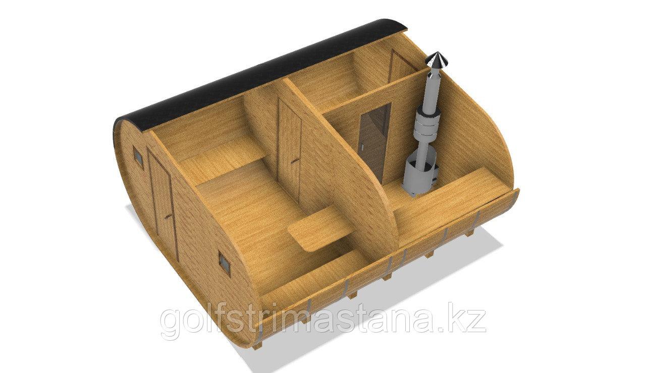 Баня-бочка из кедра д*ш: 4*4 м. / Овальная