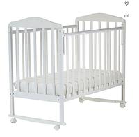 Кровать детская Митенька (опуск.планка, колеса, качалка, белый)