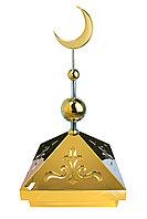 Навершие. Купол на мазар. Золото с орнаментом и золотым объемным полумесяцем d-230 с 2-мя шарами