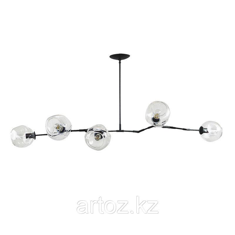 Светильник подвесной Branching Bubble Chandelier - 5 Light (Black-Transparent)