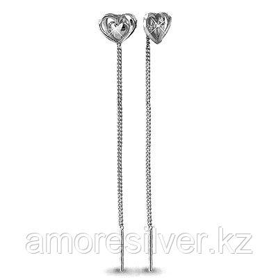 Серьги Aquamarine серебро с родием, без вставок, love 30810