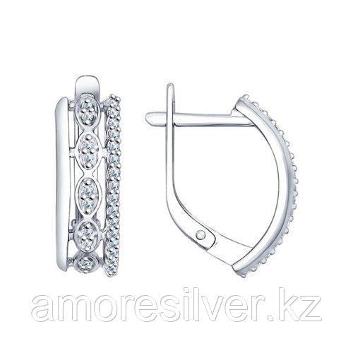 Серьги SOKOLOV серебро с родием, фианит 94022386