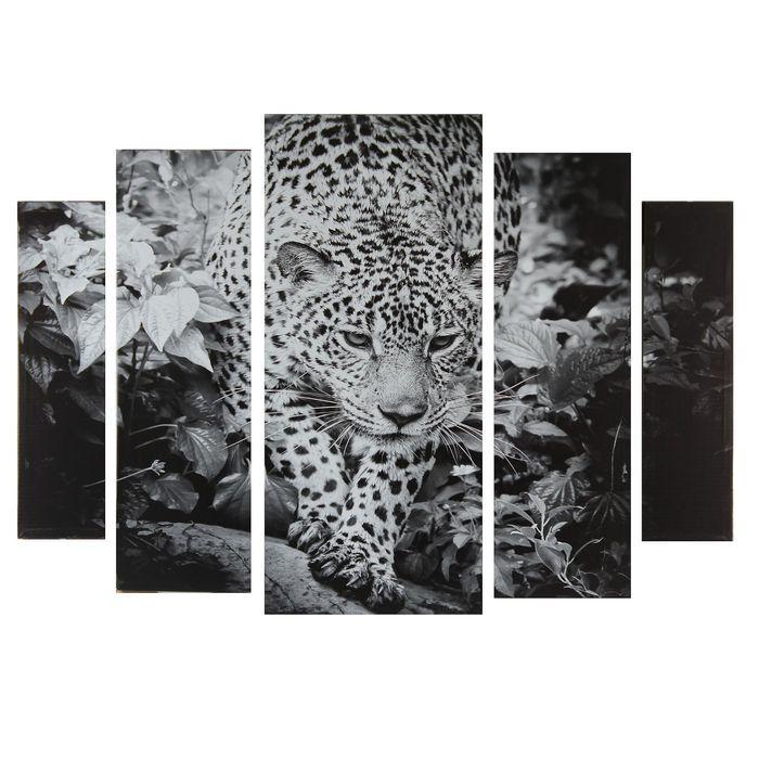 "Картина модульная на подрамнике ""Черно-белый леопард"" 2-14х53, 2-21х69,5 1-34х79; 80х118 см"