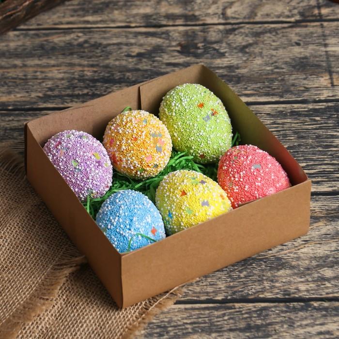 """Декор пасхальный """"Яйцо посыпка бабочки в травке"""" набор 6 шт яйцо 5х7 см"""