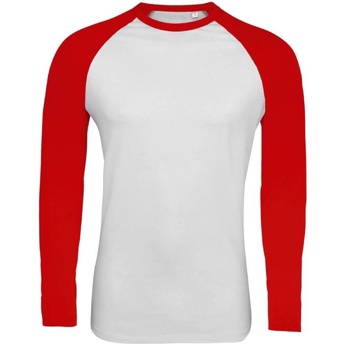 Футболка мужская с длинным рукавом FUNKY LSL, размер M, цвет белый, красный