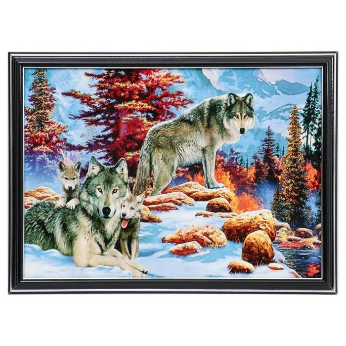 """Картина """"Волки в зимнем лесу"""" 28х38 см"""