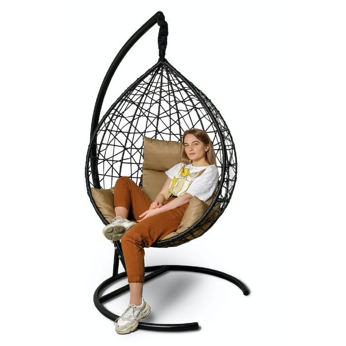 Подвесное кресло Alicante черное, бежевая подушка, стойка
