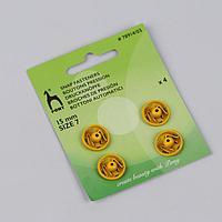 Кнопки пришивные, d = 15 мм, 4 шт, цвет жёлтый