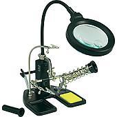 Держатель с LED подсветкой, подставкой под паяльник и лупой (третья рука)