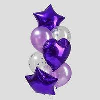 Букет из шаров 'Фиолетовый', сердце, звезда, фольга, латекс, набор 10 шт.