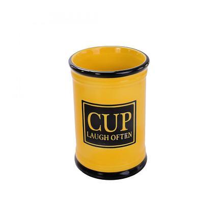 Стакан для зубных щеток лиловый глянец Аквалиния CE2117GA-TB черный-жёлтый