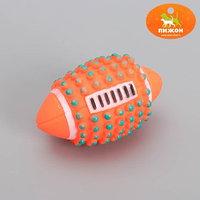 Игрушка для собак с пищалкой 'Регби с шипами', 12 см, микс цветов