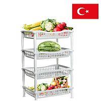 Полка для хранения овощей и фруктов этажерка прямоугольная 4х секционная 445*340*850 mm DDStyle белая