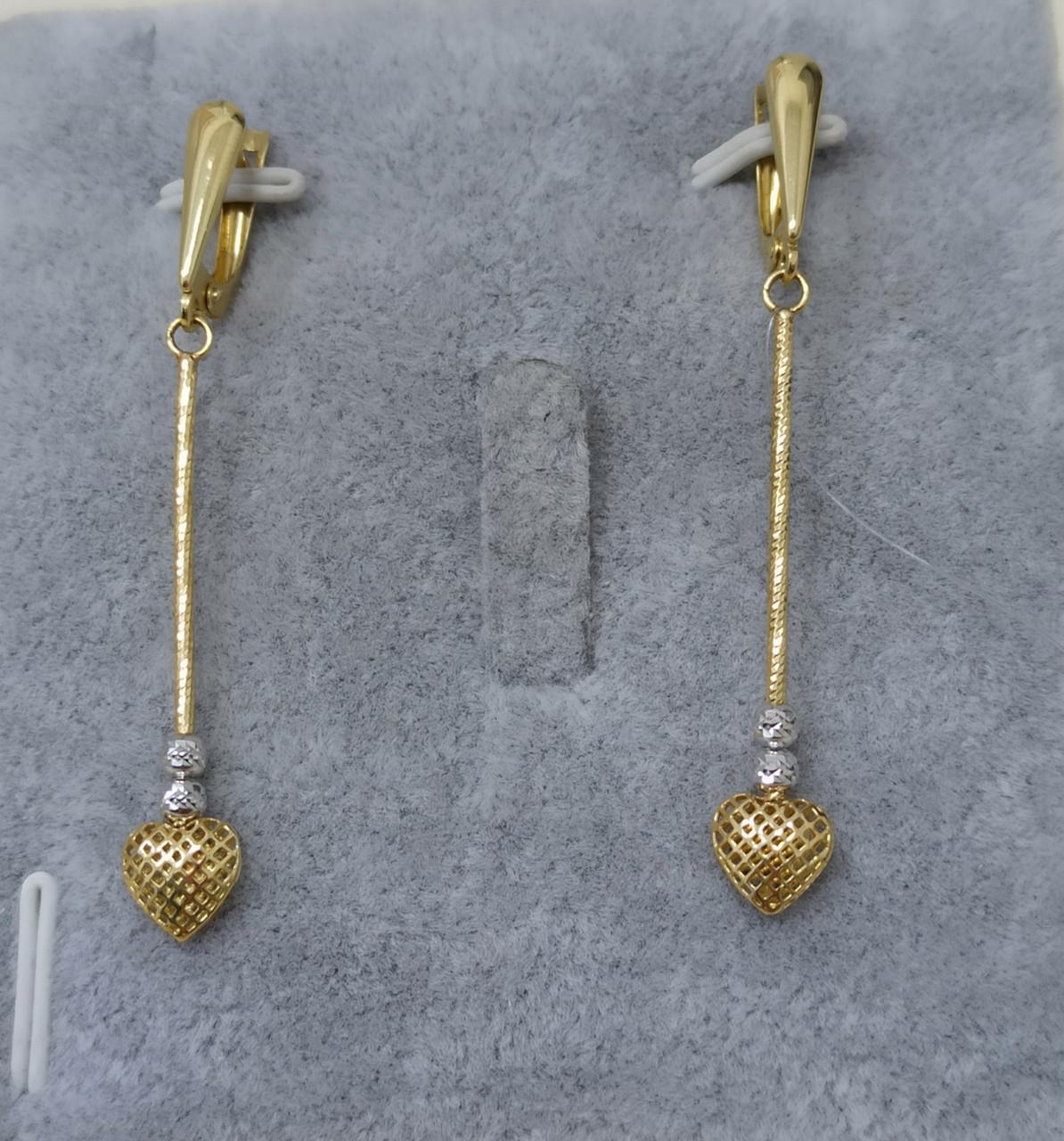 Золотые серьги «сердце»