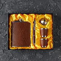 Подарочный набор 5 в 1 фляжка 240 мл воронка ручка 2 рюмки коричневый 17х21 см