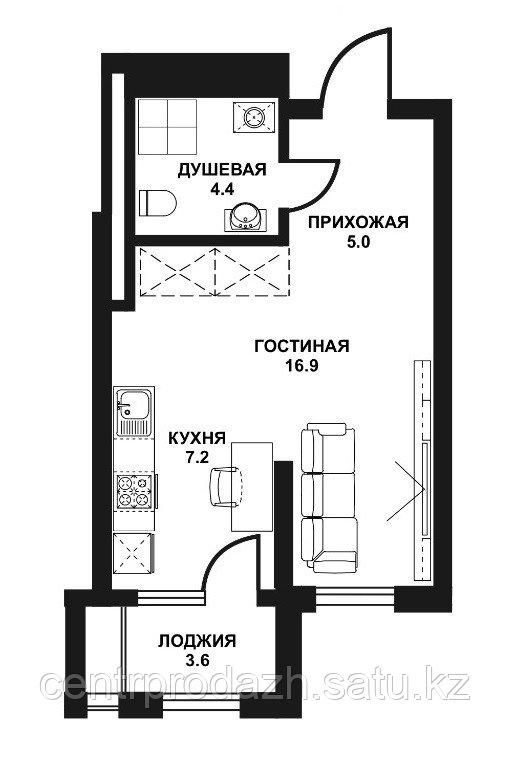 1 комнатная жк табысты 37,10м2