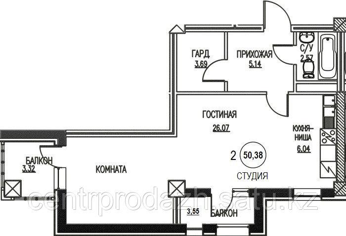 2 комнатная квартира Жк Табысты 50,38м2