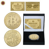 Сувенирная монета Bitcoin (Биткоин), с подарочным сертификатом, толщина 3 мм