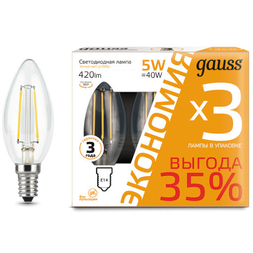 Лампа Gauss свеча 5W E14 2700K