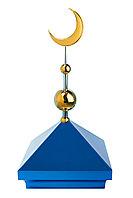 Навершие. Купол на мазар. Цвет синий с золотым объемным полумесяцем d-230 с 2-мя шарами