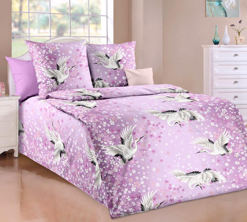 ТексДизайн Комплект постельного белья Журавлиный танец 1, 1.5 спальный , бязь