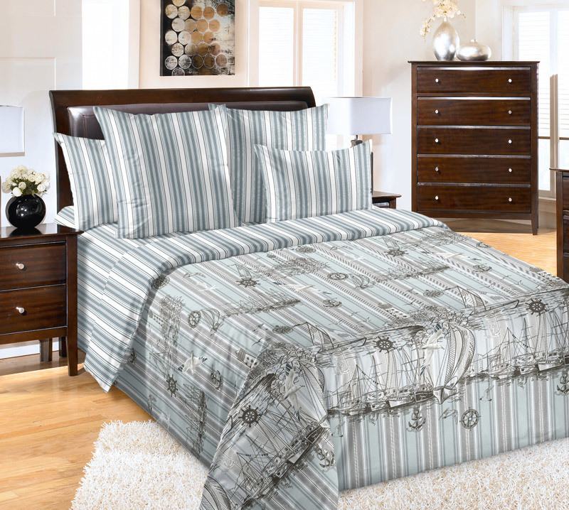 ТексДизайн Комплект постельного белья  Акватория  2 спальный евро, перкаль
